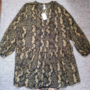 H&M Khaki Green/Snakeskin Printed Dress